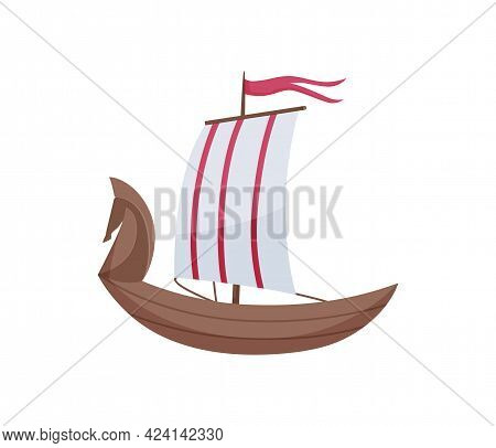 Water Sailboat. Ship Boat Side View Isolated On White Background. Old Ship With Sail, For Ocean Wate