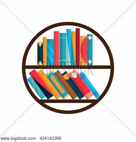 Bookshelf With Colorful Books. Flat Reading Books Illustration Isolated On White Background. Back To