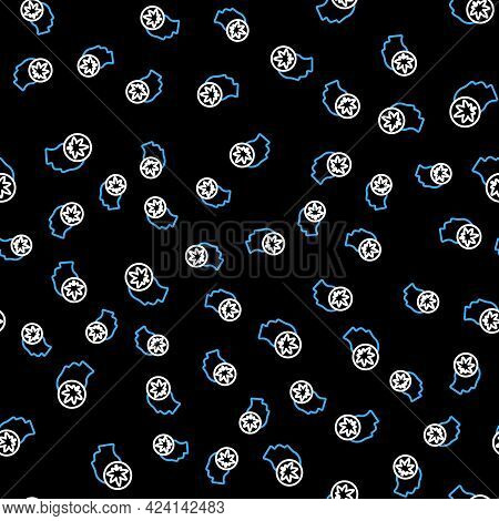 Line Male Head In Profile With Marijuana Or Cannabis Leaf Icon Isolated Seamless Pattern On Black Ba