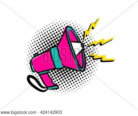 Hand Drawn Comic Shout In Cartoon Style. Megaphone Icon Isolated On White Background. Emblem For Ann