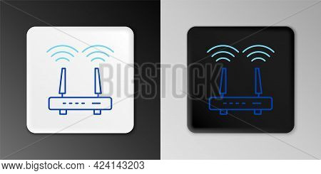 Line Router And Wi-fi Signal Icon Isolated On Grey Background. Wireless Ethernet Modem Router. Compu