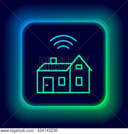 Glowing Neon Line Smart Home With Wireless Icon Isolated On Black Background. Remote Control. Intern