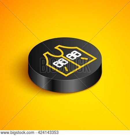 Isometric Line Hunting Jacket Icon Isolated On Yellow Background. Hunting Vest. Black Circle Button.