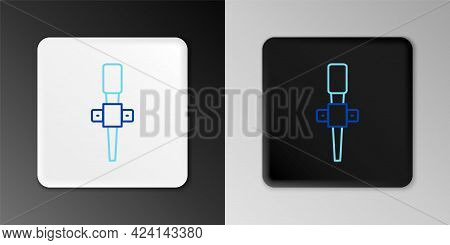 Line Torch Flame Icon Isolated On Grey Background. Symbol Fire Hot, Flame Power, Flaming And Heat. C