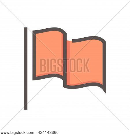 Flag Waving And Pole Or Flagpole Vector Linear Line Icon Design. Marker Pin Point With Simple Shape.
