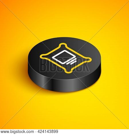 Isometric Line Fertilizer Bag Icon Isolated On Yellow Background. Black Circle Button. Vector