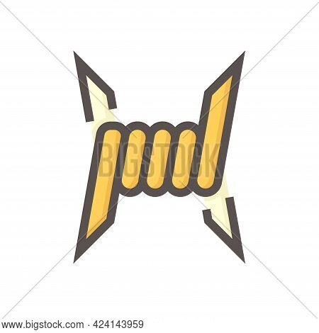 Barb Wire Vector Icon. That Thorn With Sharp Metal Steel And Twisted Shape For Military, Jail Or Pri