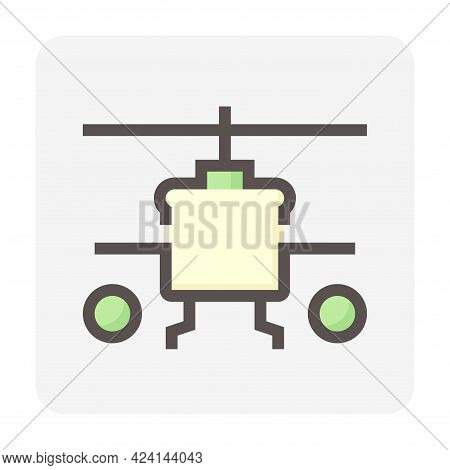 Military Helicopter Vector Icon. Aircraft Vehicle With Rotor, Blade, Weapons And Technology For Avia