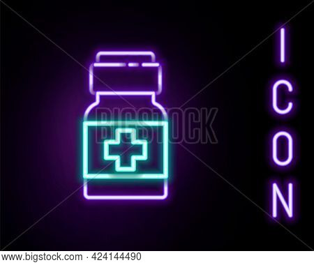 Glowing Neon Line Medicine Bottle And Pills Icon Isolated On Black Background. Medical Drug Package