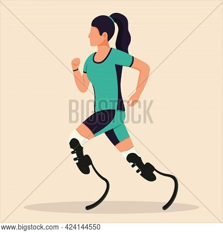 A Girl With Prosthetic Legs Is Running. A Disabled Woman Is Running. Rehabilitation For The Disabled