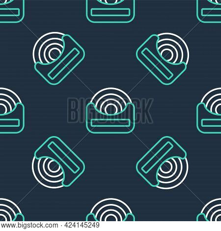 Line Dental Floss Icon Isolated Seamless Pattern On Black Background. Vector