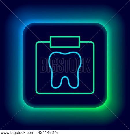 Glowing Neon Line X-ray Of Tooth Icon Isolated On Black Background. Dental X-ray. Radiology Image. C