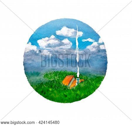 Bright Summer Watercolor Illustration. The Red Roof Of A House With A Chimney From Which Smoke Comes