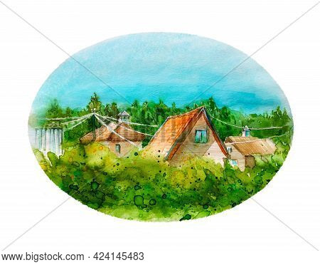Bright Summer Watercolor Round Illustration. A Hot Summer Day. Red Tiled Roofs Of Houses In The Midd