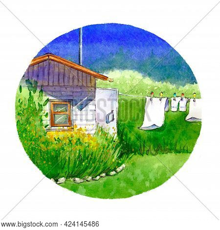 Hot Summer Day, White Brick Village House Surrounded By Green Bushes And Plants, Clothes Drying On A