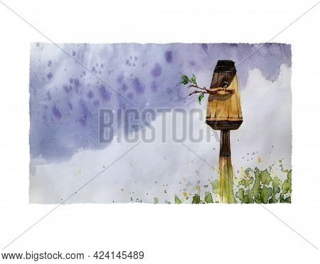 Bright Summer Watercolor Illustration. A Wooden Birdhouse On The Background Of A Summer Purple Thund
