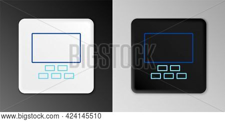 Line Cinema Auditorium With Screen And Seats Icon Isolated On Grey Background. Colorful Outline Conc
