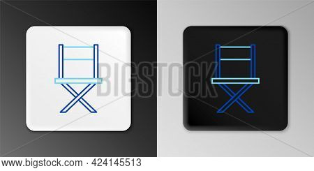 Line Director Movie Chair Icon Isolated On Grey Background. Film Industry. Colorful Outline Concept.