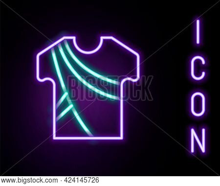 Glowing Neon Line Indian Man Dress Traditional Hindu Clothes With Long Shirt Icon Isolated On Black