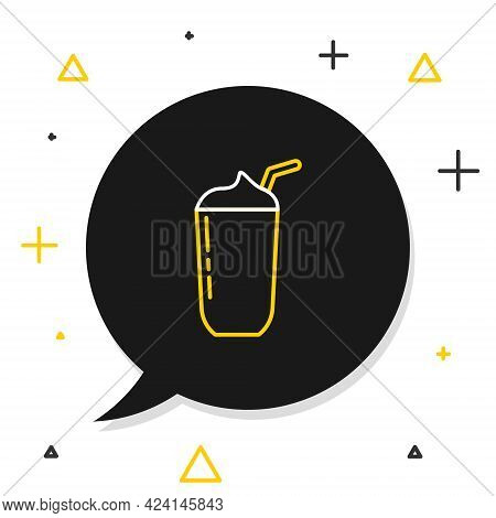 Line Milkshake Icon Isolated On White Background. Plastic Cup With Lid And Straw. Colorful Outline C