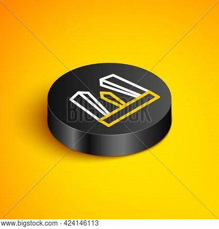Isometric Line Gate Of Europe Icon Isolated On Yellow Background. The Puerta De Europa Towers. Madri