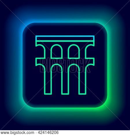 Glowing Neon Line Aqueduct Of Segovia, Spain Icon Isolated On Black Background. Roman Aqueduct Build