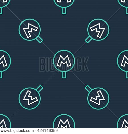 Line Metro Or Underground Or Subway Icon Isolated Seamless Pattern On Black Background. Vector