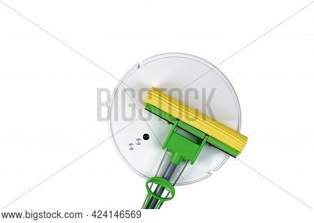 Robot Vacuum Cleaner And Mop, Isolate On A White Background. Evolution Of Cleaning Equipment. The Co