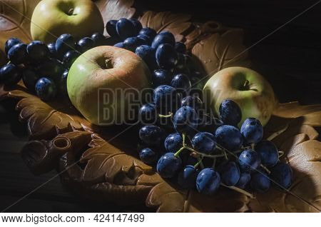 Thanksgiving Still Life With Autumn Fruits And Berries.