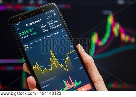 Ukraine, Odessa - June, 1 2021: Trading Pair Doge Usdt At Binance Mobile App Running At Smartphone S