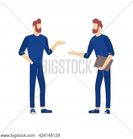 Business People Conversation. Two Men Standing Together And Talking, Discussing, Negotiating. Vector