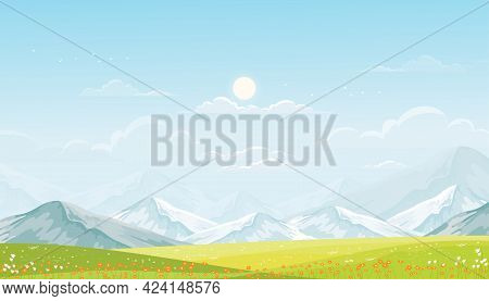 Spring Landscape In Countryside With Green Meadow On Hills, Blue Sky,fluffy Clouds And Sun, Vector C