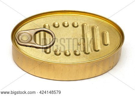 Closed Gold Colored Metal Food Can Isolated On White Background