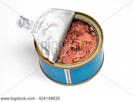 Open Can Of Tuna Fish Isolated On White Background