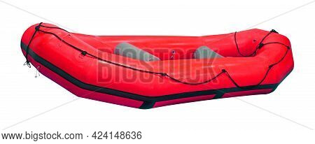 Inflatable Red Rubber Boat Isolated With Clipping Path Included
