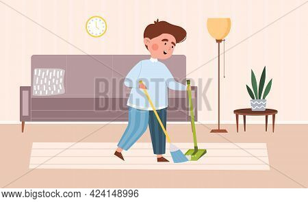 Cute Little Boy Sweeping The Floor. Kids Doing Housework Chores At Home Concept. Flat Cartoon Vector