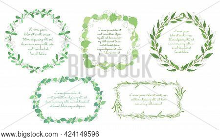 Vintage Round Frame Or Wreath Made Of Hand Drawn Thyme Leaves And Twigs. Outlined With Brushes And C