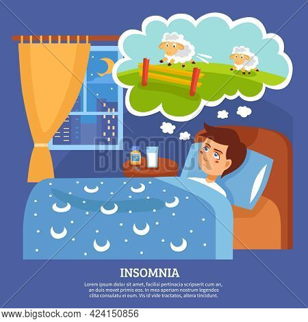 Insomnia Sleep Disorder Symptoms With Sleepless Night Cure Tips Flat Poster Abstract Vector Illustra