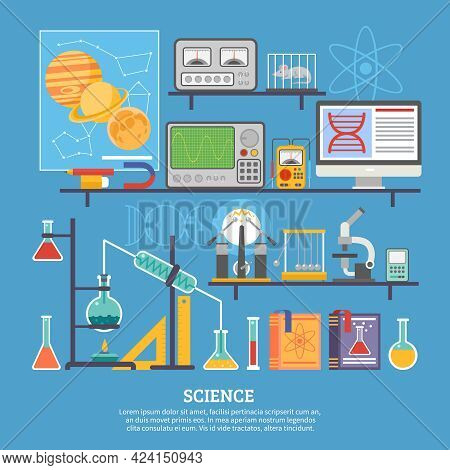 Biochemistry Scientific Research Laboratory Flat Poster With Microscope Chemical Reaction Tests And