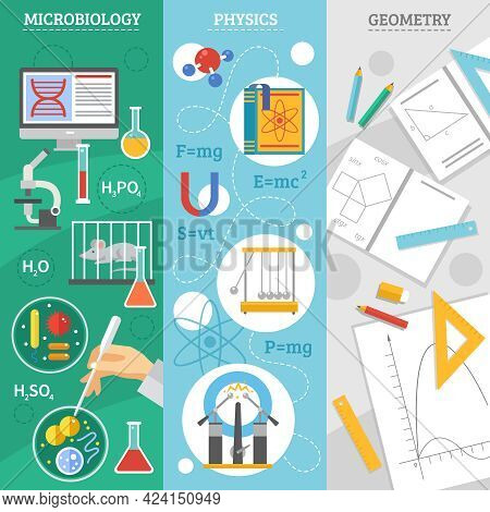 Exact Science 3 Flat Vertical Banners Set With Microbiology Physics And Geometry Symbols Abstract Is