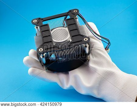 The Hand Of The Technician Is Holding Pc Cpu Cooler. Pc Cpu Cooler With Thermal Paste.