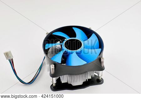 Pc Cpu Cooler On A White Background. Cooling The Desktop Computer Processor