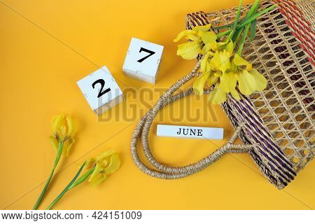 Calendar For June 27: Cubes With The Number 27, The Name Of The Month Of June In English, Yellow Iri
