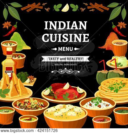 Indian Cuisine Restaurant Menu Black Board Poster With Colorful Traditional Spicy Flavored Dishes Ab