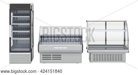 Commercial Refregeration Equipment. Curved Glass Refrigerated Display Case For Bakery, Deli Display