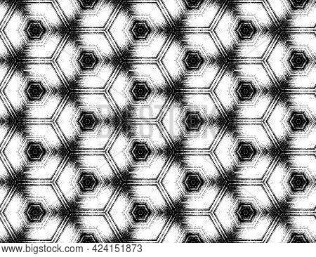 Seamless Hexagon Pattern, Abstract Black And White Textured Kaleidoscopic Effect. Symmetric Geometri