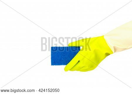 Spring Cleaning Concept. Top View Of Hand In Yellow Rubber Gloves Holding Blue Sponge On White Isola