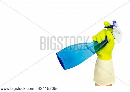 Spring Cleaning Concept. Spray Bottle Of Blue Window Cleaner On A White Background. Hand Holding Spr