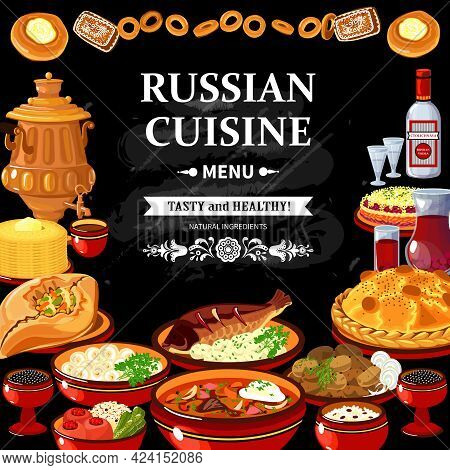 Russian Cuisine Restaurant Menu Black Board Poster With Colorful Traditional Dishes Vodka And Samova
