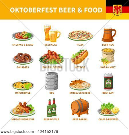 German Annual Oktoberfest Traditional Food Snacks And Beer Flat Icons Collection With Crayfish Abstr